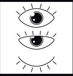 eyes icon set collection look and vision vector image vector image