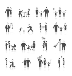 Family icons set black vector