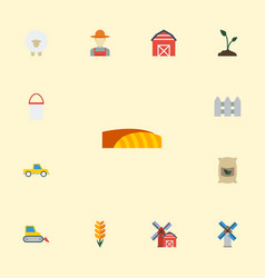 Flat icons lamb field wooden barrier and other vector