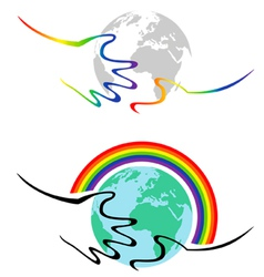 Gay symbolism hands hold the earth vector