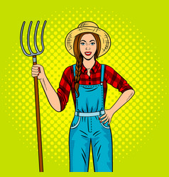 girl farmer with pitchfork pop art vector image vector image
