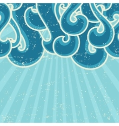Grunge retro background with abstract curly waves vector image vector image
