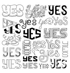 Handwritten Yes Phrases Words with vector image vector image