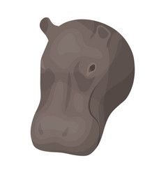 hippopotamus icon in cartoon style isolated on vector image