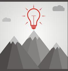 Idea concept idea light bulb at the top of a vector