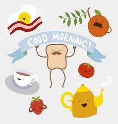 Morning food cartoon characters vector