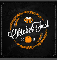 oktoberfest logo on chalk design background vector image