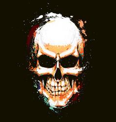 skull artistic splatter orange n green vector image vector image