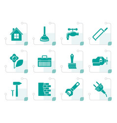 stylized construction and do it yourself icons vector image