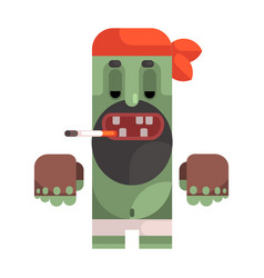 Tramp with cigarette wearing bandana revolting vector