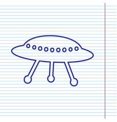 Ufo simple sign navy line icon on vector