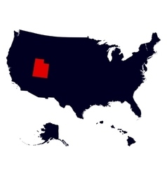 Utah State in the United States map vector image