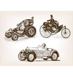Vintage cars set sketch style vector image vector image
