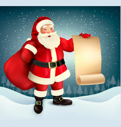 Vintage christmas greeting card with santa claus vector