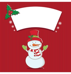 Winter label with snowman vector