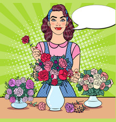 Woman florist making bunch of flowers pop art vector