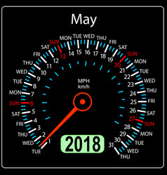 Year 2018 calendar speedometer car in concept may vector