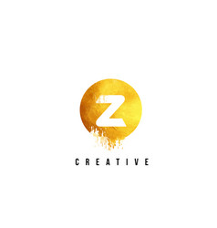 Z gold letter logo design with round circular vector