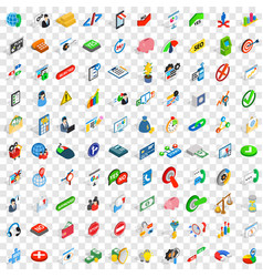 100 management icons set isometric 3d style vector