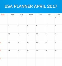 Usa planner blank for april 2017 scheduler agenda vector