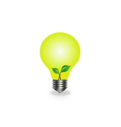 Incandescent lamp with baby seedling vector