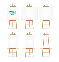 Paint desk  artist easel set with white vector