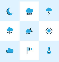 Climate colored icons set collection of cold vector