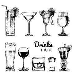 Cocktails drinks and glasses for bar restaurant vector