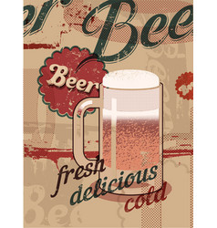 Beer vintage style poster with a beer mug vector