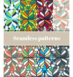 Floral seamless patterns set vector