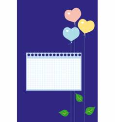 Note paper and balloon vector