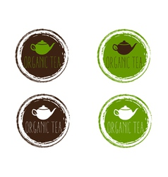 Emblems of organic teapot vector
