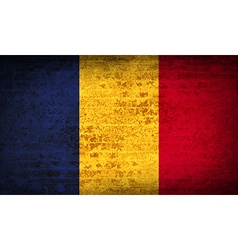 Flags romania with dirty paper texture vector