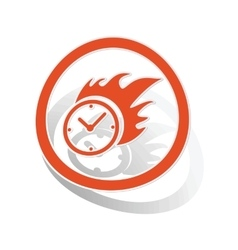 Burning clock sign sticker orange vector