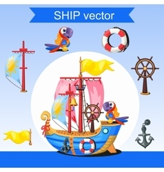 Historic ship rudder mast and two parrots vector image