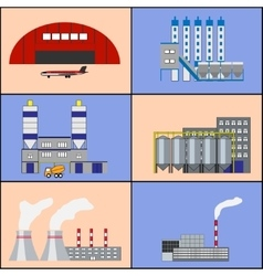 Factory buildings and power plants icons flat vector