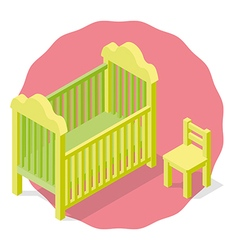 Isolated children cradle and chair vector