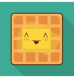 Breakfast design kawaii waffle icon vector