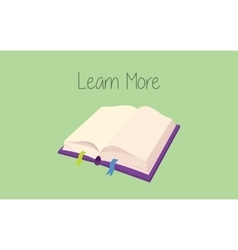 Learn more concept with book open with text on vector