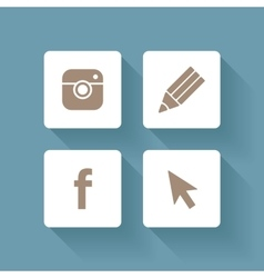Set of social media icons vector