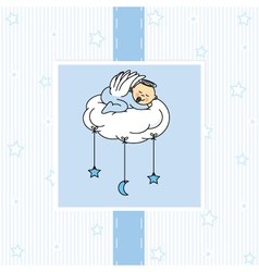 Birth card baby boy vector