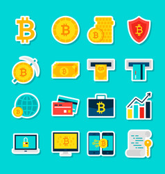 Bitcoin currency stickers vector