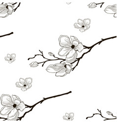 Black seamless pattern with drawn cherry vector