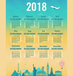 Calendar for 2018 with famous wolrd landmarks vector
