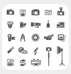 Camera icons and camera accessories icons set vector
