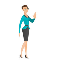 Caucasian business woman showing palm hand vector