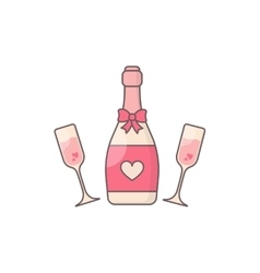 Champagne glasses and bottle vector image vector image