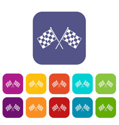Checkered racing flags icons set vector