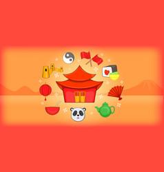 China banner horizontal cartoon style vector