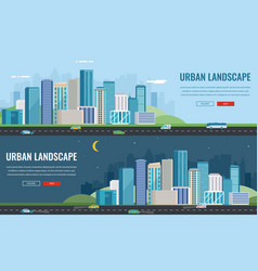 day and night urban landscape modern city vector image vector image
